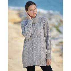 Long aran cashmere jumper -...