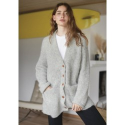Mohair Oversized V-neck Cardigan - pattern